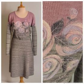 Suknelė (Silver Reed SK280/SRP60N plius sauso vėlimo dekoravimas)